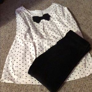 Polka dot long sleeve with matching fleece pants